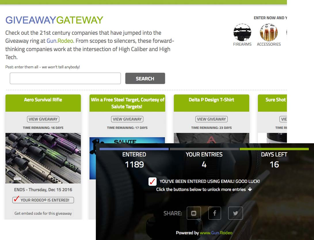 Gun.Rodeo's Giveaway Gateway Platform: Gun.Rodeo's display networks extends your brand's reach