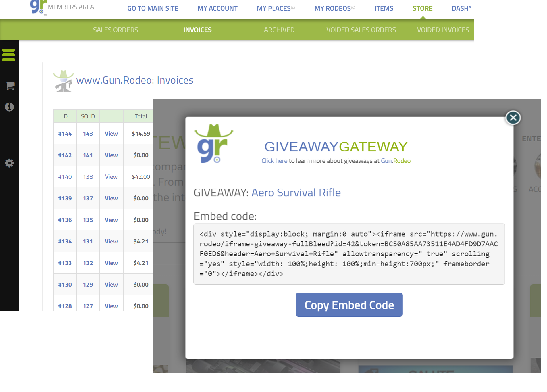 Gun.Rodeo's Giveaway Gateway Platform: Embed your giveaway into the Gun.Rodeo display network